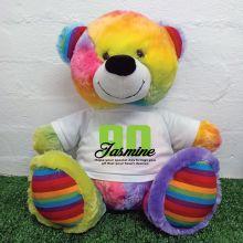 90th Birthday Personalised Bear with T-Shirt - Rainbow  40cm