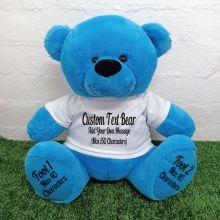 Custom Message Teddy Bear with T-Shirt Bright Blue 40cm