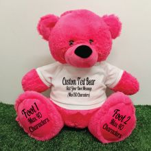 Custom Message Teddy Bear with T-Shirt Hot Pink 40cm
