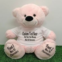 Custom Message Teddy Bear with T-Shirt Light Pink 40cm