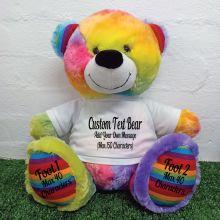 Custom Teddy Bear with T-Shirt Rainbow 40cm