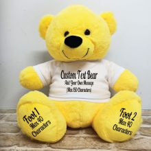 Custom Message Teddy Bear with T-Shirt Yellow 40cm