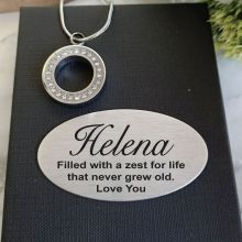 Silver Circle Pendant Cremation Urn Necklace In Personalised Box