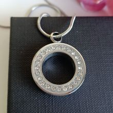 Silver Circle Pendant Memorial Cremation Urn Necklace