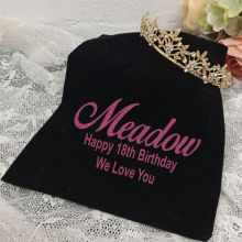 18th Birthday Gold Vine Tiara in Personalised Bag
