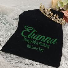 60th Birthday Gold Vine Tiara in Personalised Bag