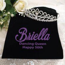 50th Birthday Large Crystal Tiara in Personalised Bag