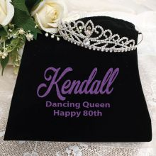 80th Birthday Large Crystal Tiara in Personalised Bag