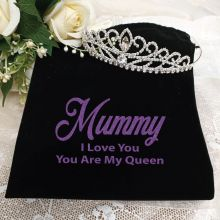 Mum Large Crystal Tiara in Personalised Bag