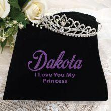 Large Crystal Tiara in Personalised Bag