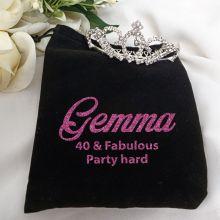 40th Birthday Medium Crystal Tiara in Personalised Bag