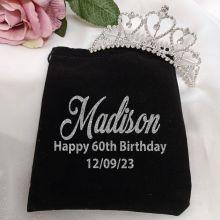 60th Birthday Tiara Medium Heart in Personalised Bag