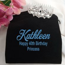 40th Birthday Small Flower Tiara in Personalised Bag