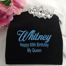 80th Birthday Small Flower Tiara in Personalised Bag