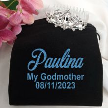 Godmother Birthday Small Flower Tiara in Personalised Bag