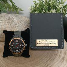Graduation Black & Gold Bracelet Watch Personalised Box