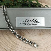 30th Birthday Mens Stainless Steel Link Bracelet