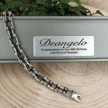 60th Birthday Mens Stainless Steel Link Bracelet