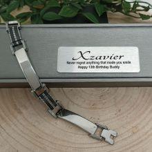 13th Birthday Stainless Steel & Black Bracelet