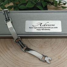 18th Birthday Mens Stainless Steel & Black Bracelet