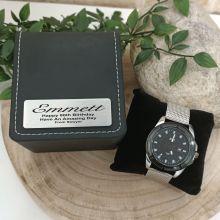 80th Birthday Watch Gunmetal 44mm Mesh Personalised Box