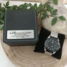 Anniversary Watch Gunmetal 44mm Mesh Personalised Box