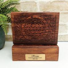 Pet Memorial Flower Of Life Carved Wooden Trinket Box