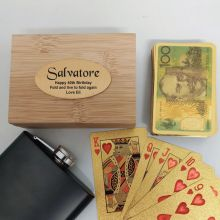 40th Birthday Gold Playing Cards In Wooden Box