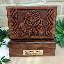 80th Carved Wood Trinket Box Dreamcatcher