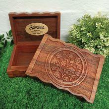 Baptism Carved Flower of Life Wood Trinket Box