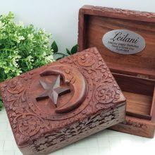 Birthday Carved Wooden Trinket Box - Star & Moon