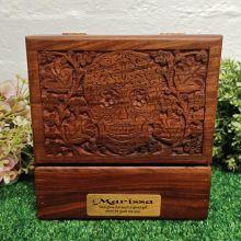 Love Carved Wooden Trinket Box Skull