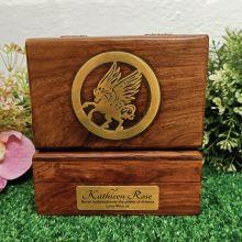 Personalised Unicorn Gold Inlay Wood Trinket Box