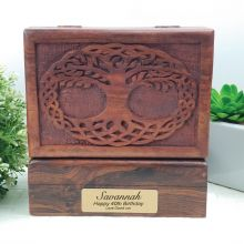 40th Birthday Tree Of Life Carved Wooden Trinket Box