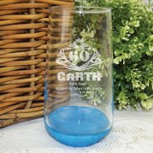 60th Birthday Engraved Personalised Glass Tumbler (M)