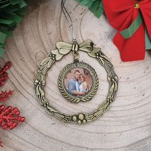First Christmas Together Photo Ornament Gold Wreath