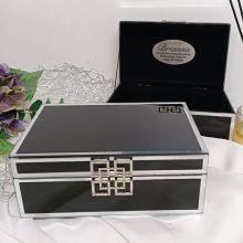 70th Birthday Black Glass Jewel Box w/Silver Edge