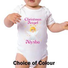 Personalised Christmas Angel Baby Bodysuit