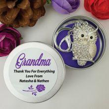 Personalised Grandma Diamante Owl Keyring Gift