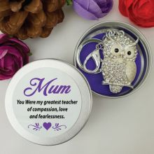 Personalised Mum Diamante Owl Keyring Gift