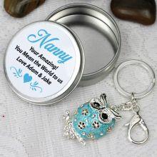 Personalised Nana Keyring Gift - Owl