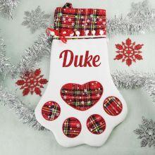 Personalised Pet Christmas Stocking- Red Plaid
