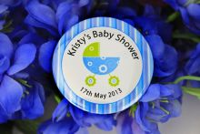 Personalised Baby Shower Party Badge Blue