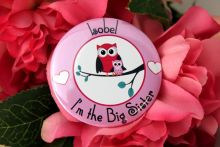 Personalised Big Sister Badge Owl