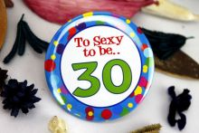 30th Birthday Party Badge - Blue Spots