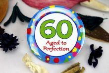 60th Birthday Party Badge - Blue Spots