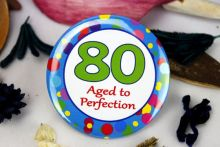 80th Birthday Party Badge - Blue Spots