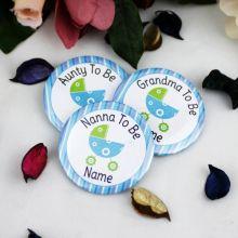 Personalised Baby Shower Badge Blue Pram