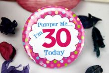 30th Birthday Party Badge - Pink Spots