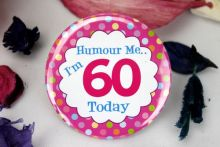 60th Birthday Party Badge - Pink Spots